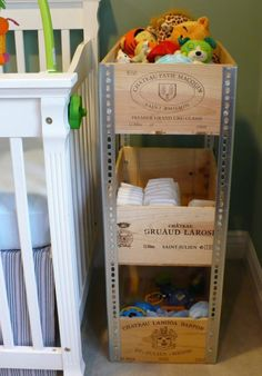 DIY Wine Crate Shelves, Love everything about this except the metal sides, must find another way. Diy Storage Projects, Diy Projects, Storage Ideas, Easy Storage, Woodworking Projects, Diy Rangement, Crate Storage, Storage Shelves, Diy Shelving