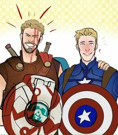 While Tony and Dr. Strange are facial hair bros, Steve and Thor here are  shield and hair bros.