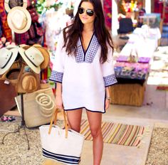 Tory burch tunic, beach bag & flip flops