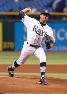 CrowdCam Hot Shot: Tampa Bay Rays starting pitcher Chris Archer throws a pitch during the first inning against the Texas Rangers at Tropicana Field. Photo by Kim Klement