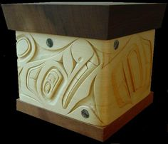 """Wolf"" - cedar box by 2012 Circle Craft Christmas Market Exhibitor Bent Cedar Box ~ James Michels"