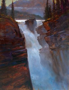 'Athabasca Falls'  Banff Nat. Park   20 X 30 in. oil on canvas  Tutt Street Gallery Kelowna BC    sold  - copyright Brent Lynch