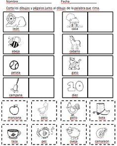 Rimas - Spanish Rhyming by Miss Campos Rhyming Worksheet, Rhyming Activities, Language Activities, Teaching Activities, Primary Activities, Teaching Tools, Worksheets, Dual Language Classroom, Bilingual Classroom