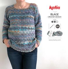Eurybia crochet sweater by Blage Crochet Design, a great project for beginners who want to move up! Pull Crochet, Gilet Crochet, Crochet Jumper, Crochet Cardigan Pattern, Crochet Blouse, Crochet Sweater Design, Crochet Designs, Ravelry, Pullover Design