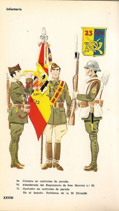 Infantry - Cornet in Parade Uniform, Standard Bearer Regt San Marcial & Gastador in Parade Uniform Military Flags, Military Uniforms, Cold War, Military History, My Happy Place, Camouflage, Spanish, Army, Illustration