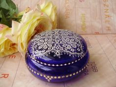 Antique blue Murano glass trinket box,lace pattern,cut glass by VintageMarketArt on Etsy