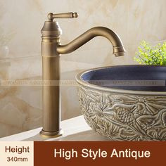 Free shipping vintage faucet antique finishing brass taps bath mixer  basin…