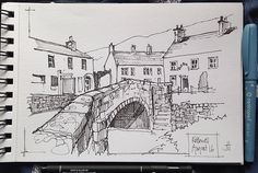 My sketch of Kettlewell is for day 16 of Drawing August. I used a much heavier line weight than usual( 3mm instead of.5mm),& a different sketchbook-140g cartridge rather than my trusty Moleskine. Felt good-different, but good. | Flickr - Photo Sharing!