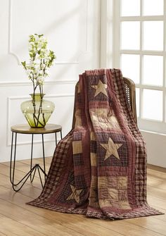 Nights won't seem so cold with our Bradford Star quilted throw. Find this and other accessories sold at Primitive Star Quilt Shop.