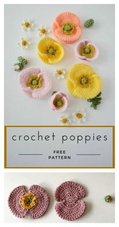Iceland Poppy Free Crochet Pattern - Knitting and Crochet Mobiles En Crochet, Crochet Mobile, Crochet Crafts, Crochet Projects, Crochet Poppy Free Pattern, Form Crochet, Knit Crochet, Crochet Geek, Crochet Stars
