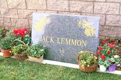 """THE GRAVE OF JACK LEMMON  (actor: """"Some Like it Hot"""", """"The Apartment"""", """"The Odd Couple"""")  at Pierce Brothers Westwood Memorial Park  in Los Angeles, California"""