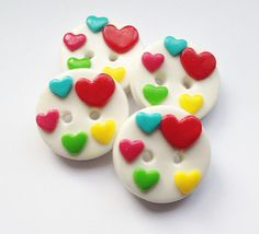 Colorful hearts - set of 4 polymer clay buttons. #buttons