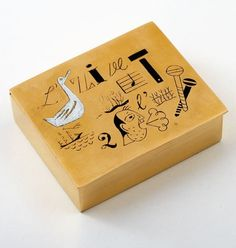 // Line Vautrin; Gilt and Enameled Bronze Box, 1950s.