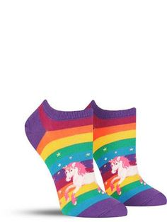 Need a little dose of rainbow sparkle magic in your life? Then we suggest slipping into a pair of these awesome and bright unicorn socks! The mythical creatures leave a flurry of pixie dust in their w Silly Socks, Crazy Socks, Cool Socks, Gamine Style, Novelty Socks, Magical Unicorn, Colorful Socks, Warrior Princess, No Show Socks