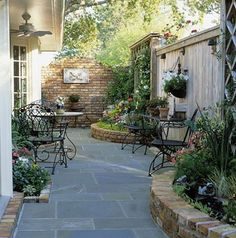 Nice patio & raised gardens - even a small irrigular shaped lot has potential and lots of appeal