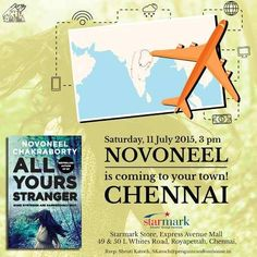 Starmark presents the launch of All Yours Stranger by Novoneel Chakraborty on July 2015 at 3 pm ,in EA Mall, Chennai . A Quiz competition of the Stranger's series will be held at the venue and 2 winners will get a free signed copy of the book. Book Launch, Upcoming Events, Music Bands, Competition, Product Launch, Chennai, Books, Movies, Libros