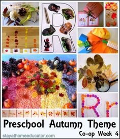 Fall lesson plan. Includes sensory bin, crafts, writing, and math ideas.