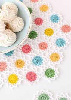 Candy-coloured crochet doily