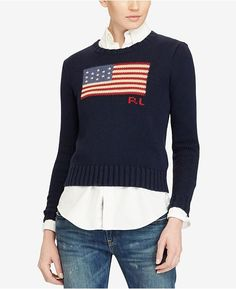 Polo Ralph Lauren Cotton Polo Sweater - Hunter Navy Multi S Polo Ralph Lauren, Ralph Lauren Style, Polo Sweater, Sweater Outfits, Men Sweater, Crewneck Sweater, Mode Polo, American Flag Sweater, Pull Bleu