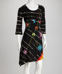 Take a look at this Black Tie-Dye Three-Quarter Sleeve Dress by Rising International on #zulily today! $27