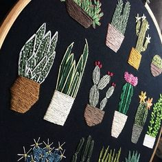 """Just started on another one of """"Just Enough Cacti""""... I love coming back to past designs ATTN: MADE TO ORDER LISTING FOR JUST ENOUGH CACTI IS NOW ON MY ETSY - ONLY 2 AVAILABLE ✨ . . . . . . . . . . . #embroidery #handembroidery #hoopart #art #artist #craft #handmade #make #create #modernmaker #designer #cacti #cactus #plants #garden #nature #succulents #flowers #decor #etsy #etsyseller #unpicking"""