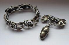 Rare 40's La Paglia Georg Jensen USA Sterling Silver Bracelet #213 & Brooch     eBay