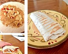 Apple PB burrito! I took pb, chopped apple, drizzled honey, and sprinkled cinnamon on top, then I wrapped it up and grilled it in my panini grill!  Turned out very yummy! Good for breakfast or an afternoon snack!