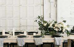 Image 32 - David + Jenna: A minimalist warehouse wedding in Real Weddings. Simple Wedding Centerpieces, Wedding Flower Arrangements, Wedding Decorations, Table Decorations, Centerpiece Flowers, Centrepieces, Hygge, Industrial Wedding Decor, Modern Minimalist Wedding