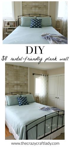 Do you love the look of plank walls, but don't want to commit or can't install in your rental? check out this awesome tutorial – the rental-friendly Style At Home, Diy Home Decor For Apartments, Rental Decorating, Decorating Ideas, Decor Ideas, Art Ideas, Interior Decorating, Plank Walls, Diy Home Improvement