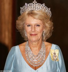Camilla, Princess of Wales wearing five strands of the royal jewels around her neck with the Boucheron tiara.