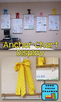 Anchor Charts -Great way to hang anchor charts. Directions for creating bows, attaching charts to dowels, & hanging from wall. This could also work well for learning goals and success criteria! Ela Anchor Charts, Kindergarten Anchor Charts, Reading Anchor Charts, 4th Grade Classroom, Kindergarten Classroom, Classroom Themes, Future Classroom, Classroom Design, Classroom Supplies