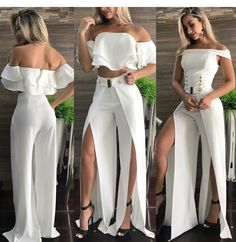 Fashion Pants, Fashion Dresses, Curvy Girl Fashion, Womens Fashion, Stylish Outfits, Cute Outfits, Designs For Dresses, Crop Top Outfits, Maxi Dress With Slit