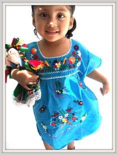 Celestina Turquoise Ethnic Handmade Mexican Embroidered Blue Tunic Baby  and children Dress