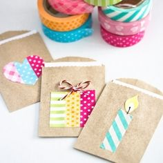Maybe we can use some Washi Tape on our photos? Decorate small gift bags with washi tape and put birthday greetings in them. In English and Swedish. Washi Tape Cards, Washi Tape Diy, Masking Tape, Washi Tapes, Small Gift Bags, Small Gifts, Deco Tape, Tape Crafts, Diy Cards