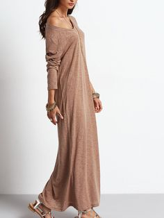 Belt :NO Fabric :Fabric has some stretch Season :Fall Type :Sweater Pattern Type :Plain Sleeve Length :Long Sleeve Color :Apricot Dresses Length :Maxi Style :Casual Material :Polyester Neckline :Round