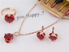 Free shipping environmental New Fashion Women's 14K Rose Gold Filled 4 Colors Sapphire necklace earrings ring jewelry set Gift