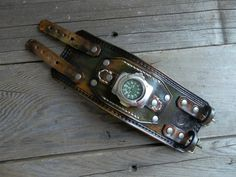 Mens wrist watch leather bracelet Leather Watch by badassleather, $95.00
