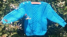 Child's handknit blue aran sweater with shoulder by bebbyjumpers, £22.00