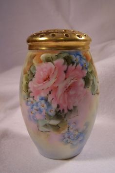 Antique Bavarian Sugar Shaker Muffineer w/ Pink Roses and Blue Forget-Me-Nots Hand Painted Porcelain