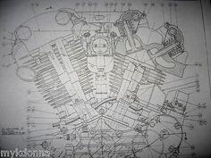 harley davidson 61ci knucklehead engine blueprint el hd poster print  motorcycle #diagram #harleydavidson harley