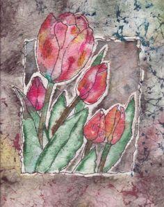 Tulip batik on rice paper