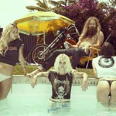 Biker with pool babes. Biker Photos, Rocker Outfit, Custom Choppers, Good Times Roll, Dramatic Makeup, Soul Sisters, Tights Outfit, Wild Child, Adults Only