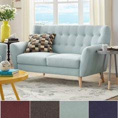 MID-CENTURY LIVING Niels Danish Modern Button Tufted Linen Fabric Loveseat | Overstock.com Shopping - The Best Deals on Sofas & Loveseats