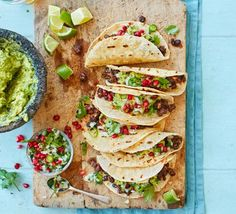 Make some vibrant vegetarian tacos for a meat-free Mexican feast. Pack your wraps with beans, tofu or veg and serve with guacamole, salsa and soured cream. Vegan Recipes Videos, Bbc Good Food Recipes, Vegan Recipes Easy, Veggie Recipes, Healthy Dinner Recipes, Healthy Snacks, Vegetarian Recipes, Veggie Meals, Beans Recipes