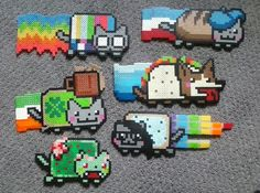 Nyan Cats perler beads by TuneoftheMoon