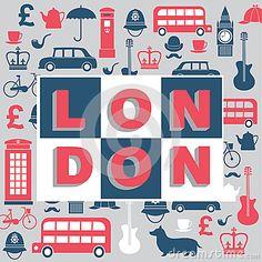 Diseño de Gran Bretaña. Conjunto de iconos que hacen alusión a Gran Bretaña. En el centro la palabra LONDON.
