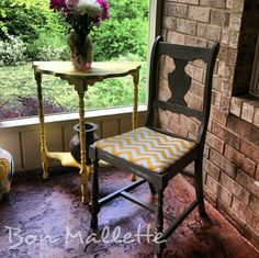 Gray and Yellow Chevron Chair by Bon Mallette Like us on Facebook... facebook.com/bonmallette