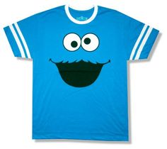 """Bioworld Adult Sesame Street """"Cookie Monster"""" Blue Ringer T-Shirt http://www.beststreetstyle.com/bioworld-adult-sesame-street-cookie-monster-blue-ringer-t-shirt/ #fashion   Bioworld Adult Sesame Street """"Cookie Monster"""" Blue Ringer T-Shirt Sesame Street blue t-shirt with white ringer collar, white printed stripes around sleeves, and large Cookie Monster character face printed on the front. Copyright 2012 Sesame Workshop."""
