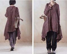 women linen loose shirt dress