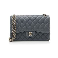 Rental Chanel Lambskin Classic Jumbo Double Flap Bag (690 CAD) ❤ liked on Polyvore featuring bags, handbags, shoulder bags, grey, gray handbags, gray shoulder bag, chanel handbags, gray purse and quilted handbags
